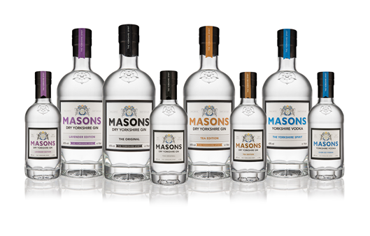 MASONS GIN ROLLS OUT NEW BOTTLE DESIGN FEATURING YORKSHIRE'S WHITE ROSE