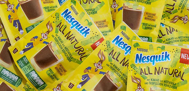 Nestlé's Nesquik All Natural powder comes in recyclable paper pouch