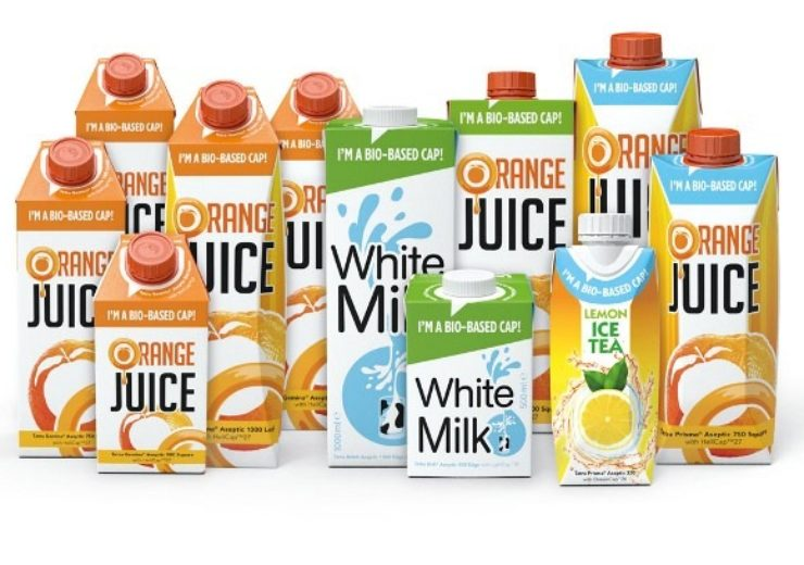 A selection of Tetra Pak carton packages with bio-based caps