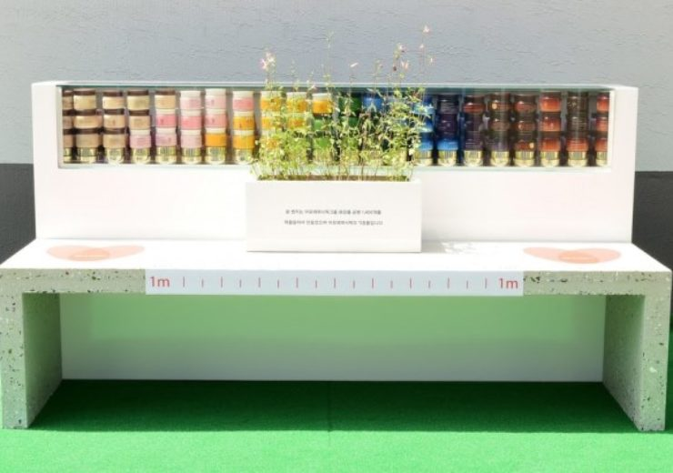 Amorepacific's upcycled bench made from empty cosmetic bottles