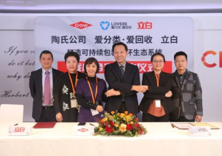 Dow signs MoU with Liby and LOVERE to boost circular plastics economy in China
